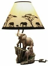 """Polyresin Migration Of The Majestic Elephant Family Table Lamp Statue Decor 19""""H"""