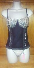 black beige floral padded boned underwired corset lingerie set size 34D 10 12