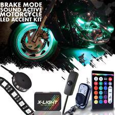 Motorcycle Lighting Neon Kit w 14 Strip 2 Pod w/ Switch Brake Music Mode 148 Led