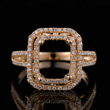 Natural Diamond Semi Mount Ring Setting Emerald Cut 10×8mm Solid 14K Yellow Gold