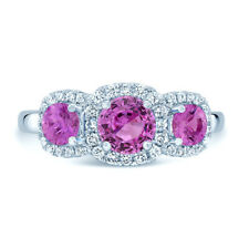 14k White Gold Pink Sapphire Diamond 3 Stone Cushion Halo Ring Natural Round