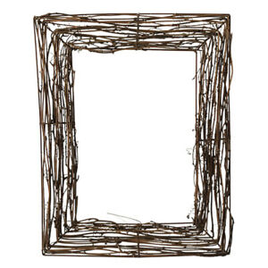 1Pc Christmas Indoor Photography Props Square Rattan Wreath Base (Coffee)