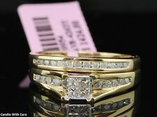 Princess Cut Diamond Bridal Set 10K Yellow Gold Engagement Wedding Ring 2.00 Ct