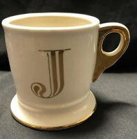 Anthropologie Gold Monogram Letter J Initial Boutique Pedestal White Coffee Mug