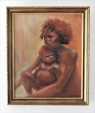 Jean (John) Sindelar 1941-2012  Original Oil Painting, Aboriginal Mother & Child