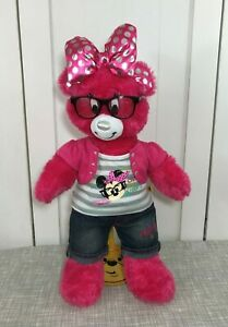 "💗 Build a Bear Downtown Disney Minnie Mouse Pink Bear 18"" w/ Outfit & Glasses"