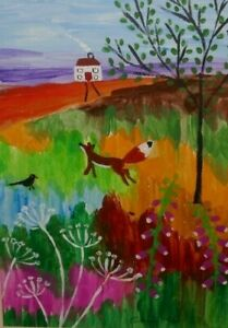 Colourful landscape with fox Oriignal acrylic painting size A4 Casimira Mostyn