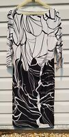 Liz Jordan Sheath Dress Knee Length 3/4 Sleeves Stretch Lined Black White Size L