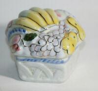 Vtg Hexagon Fruit basket trinket box 3D Fruit Gold accents Grapes Pear Banana