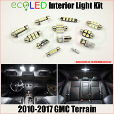 Fits 2010-2017 GMC Terrain WHITE LED Interior Light Accessories Kit 13 Bulbs