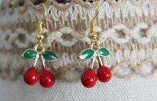 Red Cherry Fruit Enamel Dangle Earrings Gold Tone Womens Gothic Jewelery New