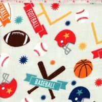 REMNANT: FLANNEL: SPORTS GALORE Flannel Cotton Fabric by RILEY BLAKE  BTY