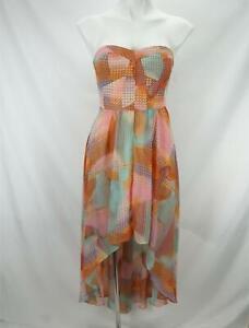 Guess Strapless Hi-Lo Dress Retro Geometric Print Multicolor Women's Size 0