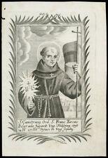 santino incisione 1700 S.GIOVANNI DA CAPESTRANO