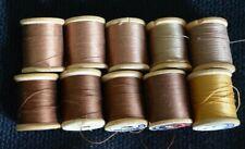 Coats & Clark's Wooden Spool Brown Thread Vintage Mercerized Sewing Lot 10