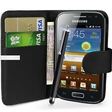 Black Wallet Flip Case Pouch PU Leather Cover For Samsung Galaxy Ace 2 I8160