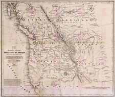 Map Antique Hood 1838 Oregon Territory Old Large Replica Canvas Art Print