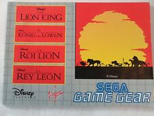 MANUEL ONLY LE ROI LION GAME GEAR NOTICE LE ROI LION GAME GEAR THE LION KING
