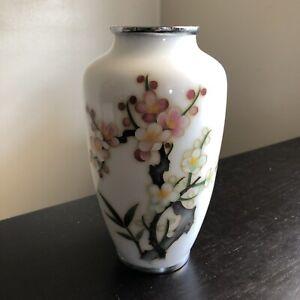 Vintage Japanese Ginbari White Cloisonne Flower Blossom Vase Handmade Art ANDO ?