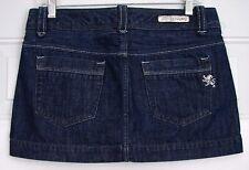 NWOT Womens Sz 6 EXPRESS JEANS Dark Blue Denim Jeans Mini Skirt Silver Stitching