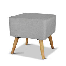 Foot Stool Linen Ottoman Storage Square Grey Pine Wood Fabric Lounge Pad