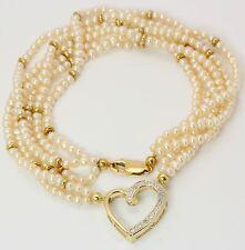 Perlen Diamant Hals Kette Collier in aus 585 Gelb Gold mit Perle Diamanten Herz