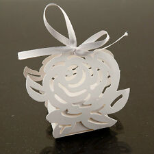 White Rose Lazer Cut Paper Favor Box Candy Party Wedding Decorations Bow 24pcs