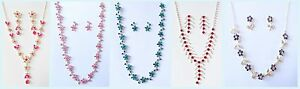 Diamond Crystal Bling Effect Party Prom Costume Jewellery Necklace Earrings Set