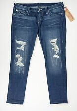 True Religion Womens Size 32 Blue Jeans Hand Picked Skinny Distressed Pants New