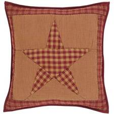 """NINEPATCH STAR QUILTED ACCENT PILLOW W/ FILL 5 POINT STAR 16X16"""" BURGUNDY KHAKI"""