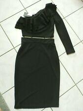 NWT Zara Black Top & Pencil Skirt Set One Shoulder Ruffle Top Sz Medium B921