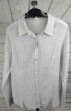 J Crew Shirt Size 12 Beige Metallic Stripe Semi Sheer Cotton