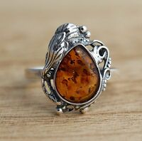 Cognac Baltic Amber Ring 925 Sterling Silver Jewellery