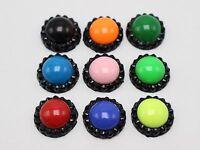 100 Mixed Enamel Color Dotted Rhinestone Flatback Acrylic Round Cabochons 12mm