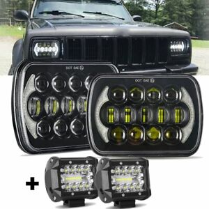 """DOT Approved Pair 5x7"""" 7x6"""" inch Led Headlight DRL For Jeep Cherokee XJ +4"""" Pods"""
