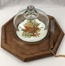 Vintage WOOD CHEESE TRAY w/ Glass Dome & Cheese Knife Goodwood Mid-Century