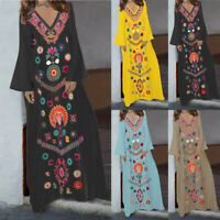 Women's Ladies Printed Long Sleeve V-neck Maxi Dress Hem Baggy Kaftan Long Dress