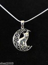 Original 925 argent pendentif et cordon ~ sorcières chat pentagramme lune par lisa parker