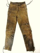 """BROWN TAN leather PANT tie lace SLIM STRAIGHT w24'' L30"""" bt24"""