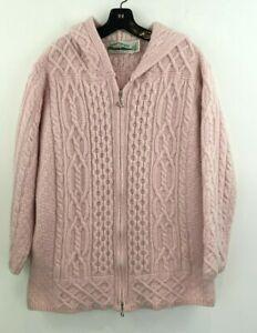 Aran Crafts Large Wool Cardigan Sweater Jacket Pink Hooded Zip Pockets B39-07