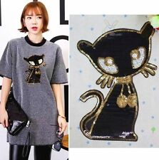 22CM Sequins Black Cat Cloth Applique Patch Clothing Embroidery Sewing Craft t