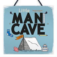 Little Man Cave Hanging Door Sign Kids Bedroom Wall Plaque Decor New Born Gifts
