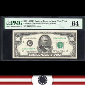 1969-C $50 New York FRN Federal Reserve Note PMG 64 Fr 2117-B  B26326888A