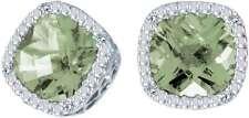 14k Oro Blanco Corte Almohada Verde Amatista & Diamante Pendientes