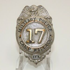 Texas Military Police Badge Obsolete Rare 1940's Camp Wallace Texas