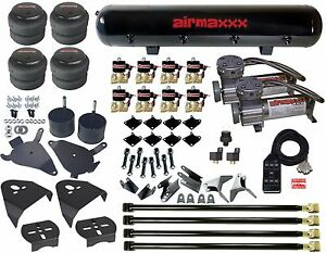 "Chevy S10 Air Kit Pewter Air Compressors 2500 Bags 1/2""npt Valves Blk AVS 7 Box"