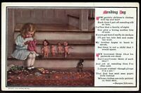 Doll Clothes with Little Girl Mending Day 1908 unused Vintage Postcard pc248b