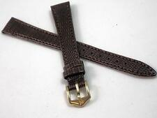 "13mm 1/2"" Brown Stitched Lizard Hirsch Ladies Vintage Watch Band Gold Tone Buckl"