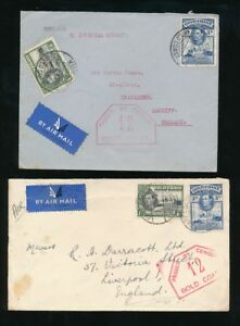 GOLD COAST WW2 CENSOR 12 HEXAGON 1940 IMPERIAL AIRMAIL to WALES + LIVERPOOL..RAF