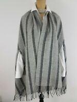 Madewell Women Shawl Cape Poncho Gray 100% Wool Wrap Stripe Fringe OS